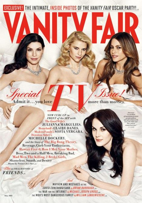 Julianna Margulies, Claire Danes, Sofía Vergara et Michelle Dockery sous et sur la couverture pour Vanity Fair