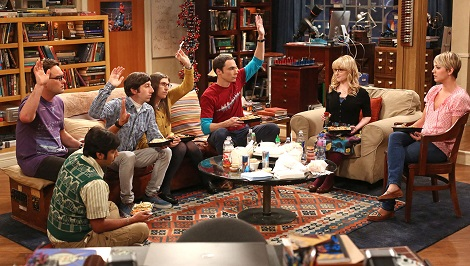 """The Junior Professor Solution"" -- When Sheldon is forced to teach a class, Howard surprises everyone by taking it. Meanwhile, the tension between Penny and Bernadette gives Amy a chance to play both sides, on THE BIG BANG THEORY, Monday, Sept. 22, 2014 (8:30-9:00 PM, ET/PT), on the CBS Television Network. Pictured left to right: Johnny Galecki, Kunal Nayyar, Simon Helberg, Mayim Bialik, Jim Parsons, Melissa Rauch and Kaley Cuoco-Sweeting Photo: Michael Ansell/CBS ©2014 CBS Broadcasting, Inc. All Rights Reserved"
