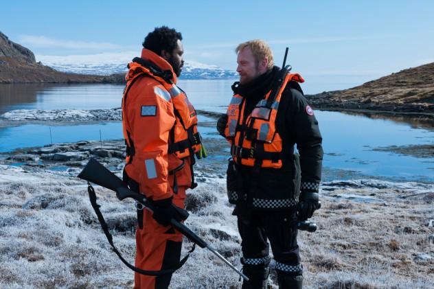 Fortitiude - Season 01.Episode 03.Nicholas Pinnock as Frank Sutter; Richard Dormer as Dan Anderssen..©2015 Sky/Tiger Aspect Productions
