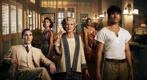 l-r: Ralph (Henry Lloyd Hughes), Alice (Jemima West) Cynthia (Julie Walters), Sooni (Aysha Kala) Aafrin (Nikesh Patel)